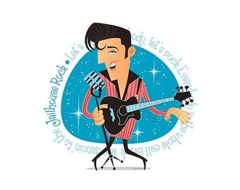 Elvis Presley, 50s Rock & Roll, Instant Digital download, Printable Illustration, pioneer of rock and roll, Rockabilly, Retro illustration