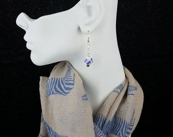 White with Blue Flowers Earrings