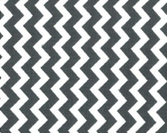 """BTHY - Small Chevron Dark Gray and White by Quilter's Showcase, 1/4"""" Wide Zig Zag, by the HALF YARD"""
