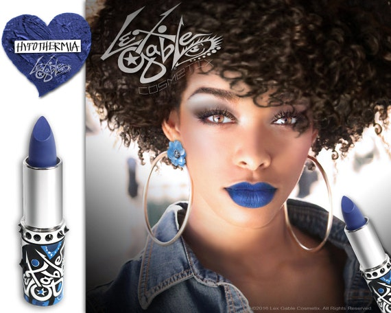 Dark Blue Lipstick by Lex Gable Cosmetix High Pigment Shade: 'Hypothermia'