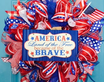 "Patriotic ""America Land of the Free"" Large Deco Mesh Wreath-READY TO SHIP!"