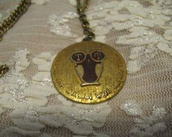 """Vintage Owl Pendent with """"Wise is the woman who wears them"""""""