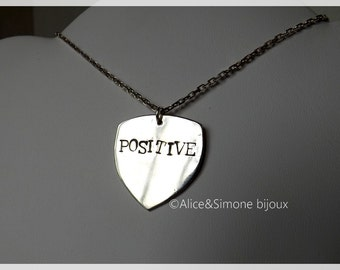 'Positive' sterling silver pendant necklace / handcrafted