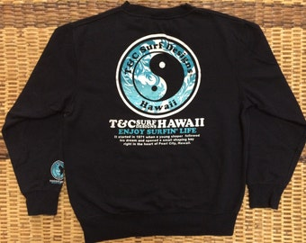 Vintage 90's T&C Surf Hawaii Design Skate Sweat Shirt Sweater Varsity Jacket Size M #A430