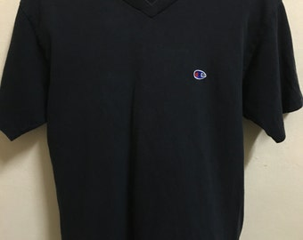 Vintage 90's Champion USA Authentic American Athletic Apparel since 1919 Black Design Shirt Size M #B74