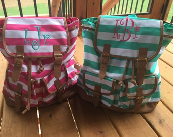 Striped campus backpack / Monogrammed backpack / Girls backpack