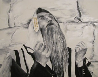 "Prayer in Jerusalem, ""51 ""39 (130X100 cm),Unique Original Acrylic on Canvas ,Hand Made, by Tomer Sharabani"