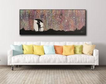 "Rain of colors Painting ""62 ""27 (160X70 cm)  ,Original Art on Canvas , Hand made, by Tomer Sharabani"