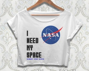 I Need My Space Crop Top Shirt NASA Tshirt for Women Ladies Black White Color