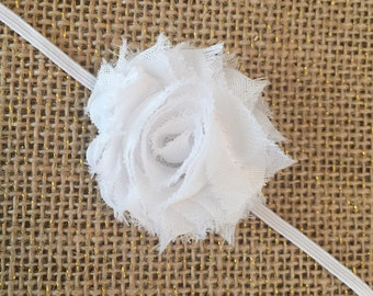 White petite shabby flower headband, ivory petite shabby flower headband, skinny elastic band, small flower headband, baby headband