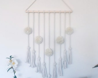 Pom Pom and Tassel Cotton Wall hanging