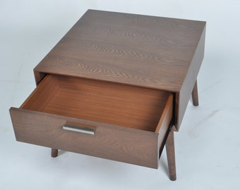 Mid Century Modern Walnut Side End Table Nightstand with drawer