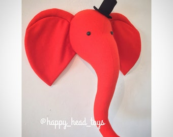 Mr Elephant red-orange color. Faux taxidermy, wall mount elephant head. Nursery art, nursery decor