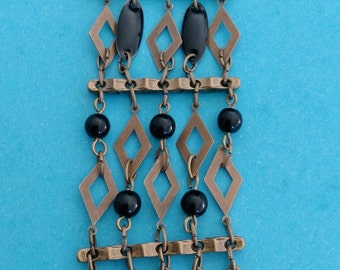 brass/black Cuff Bracelet