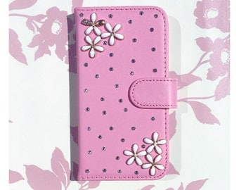 Pink Faux Leather Wallet Case With Swarovski Crystal Design for iPhone (various devices available)