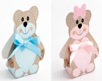 DIY Baby Favour Box Teddy Bear - Blue - Pink - Shower - Christening - With Ribbon