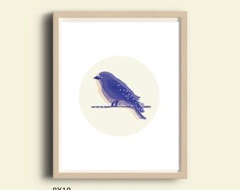 Blue wall art, printable blue bird, printable decor bird, blue bird prints, blue illustration print, blue living room decor, 8X10 print