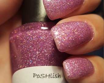"Unique Holographic ""Pink Ice"" Glitter Nail Polish Full Size 15ml Bottle"