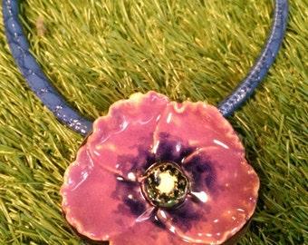 Purple poppy necklace