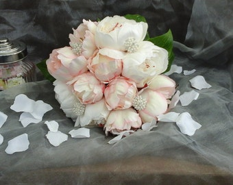 pink peony  bouquet pink & ivory peonies brooches  posy silk flowers brides bouquet pink silk peonies pink bouquet bridesmaid posy  flowers