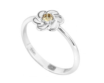 Brown Diamond 14k Gold ring, FLOWER gold ring