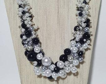 Black & White Cluster Bib Necklace