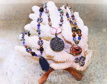 Handmade Cloisonné blue and gold dangle earrings