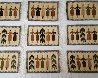 handwoven little wool mats