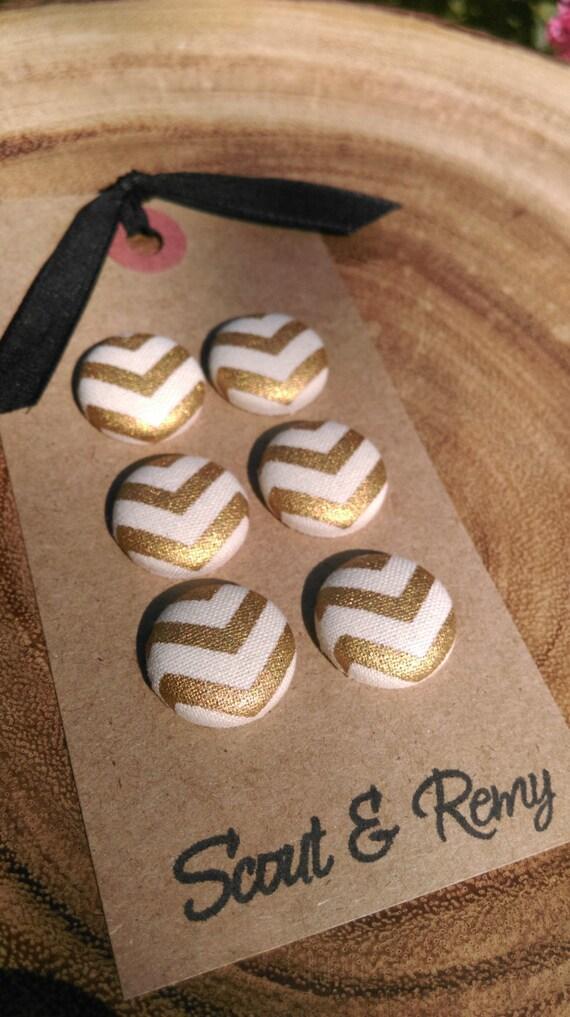 Gold  Chevron Magnets - Set of 6