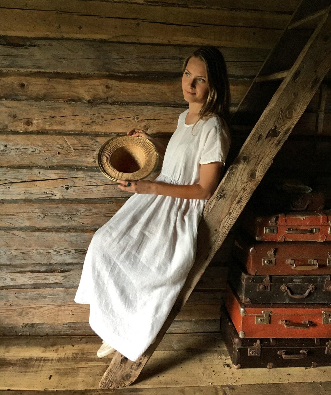 White Linen Maxi Dress, Long linen dress, plus size maxi dress ...