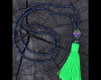 Neon green tassel necklace