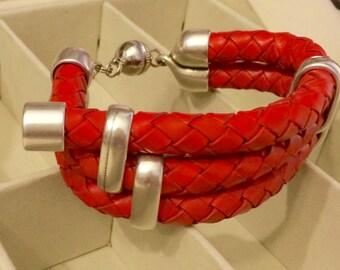 Genuine Leather Statement Bracelet