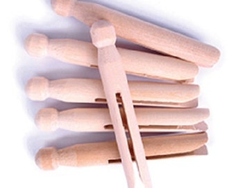 Traditonal Wooden  Dolly Pegs - (24 Pegs)