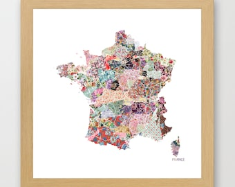 FRANCE MAP print, France painting, map of France, Painting of France, France poster, Giclee Fine Art, Flowers composition