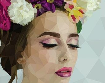 LowPoly Portrait girl flowers