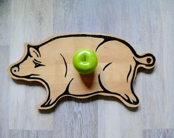 Rustic Wooden Pig Cutting Board, Primitive Handmade Country Farmhouse Kitchen