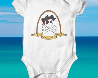 Arr!! Change Me Booty Pirate Skull baby bodysuit | baby shower gift | cute baby clothes | newborn baby clothes | funny baby bodysuit
