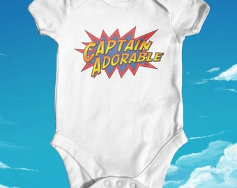 Captain Adorable baby bodysuit | funny baby bodysuit | cute baby boy clothes | baby shower gift | newborn baby clothes | super hero baby