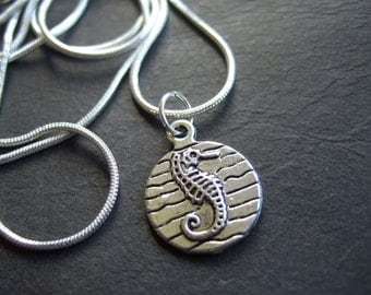 Seahorse necklace, antique silver seahorse silver plated chain, petite sea horse necklace, small nautical necklace, cute sea horse charm