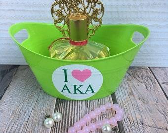 I Love AKA Alpha Kappa Alpha Plastic Tub/Basket - Customized Plastic Tub/Basket