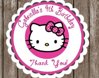Hello Kitty Stickers   Personalized Hello Kitty Thank You Stickers and Tags