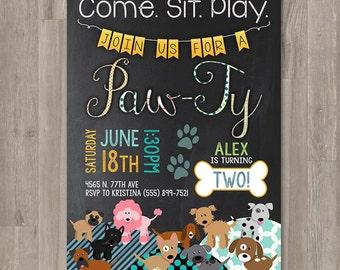 Boy Puppy Birthday Invitations  Printable Dog Invitations Custom Personalized Bday Invite Chalkboard Puppy Party Doggie Birthday Paw-Ty