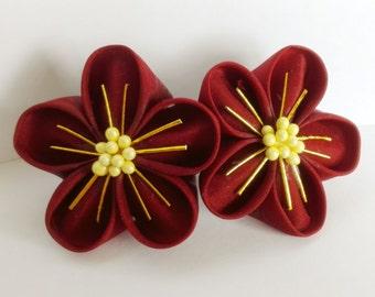 Ume kanzashi barette (french clip) - japanese hair ornament for kimono