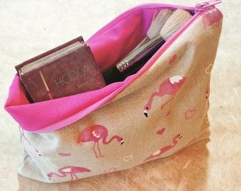 Pink Flamingo Makeup Bag