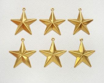 6 Medium Raw Brass Star Pendants