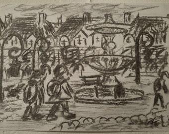 Children on Vosges square, charcoal, 14.8 x 21 cm
