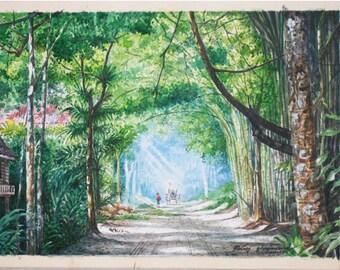 Watercolor Landscape watercolor painting Art Thailand Vintage handmade  SIZE : 48 X 37 CM