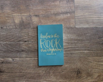 Rock hand lettered embossed moleskine journal