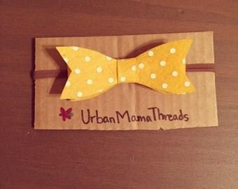 Yellow and white polka dot felt bow headband