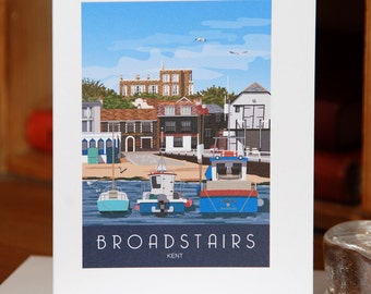 Greetings Card of Broadstairs Harbour and Bleak House in Kent (Card ID: WOS034)